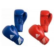 Adidas AIBA Competition Boxing Glove  Features:  - Genuine cowhide leather. - Lined with taffeta water proofing lining. - Wrap around Velcro strap closing. - Padded with highly absorbent MFS technology moulded foam. - Colour: Red and Blue - Size: 10oz   For more info visit: http://www.gymandfitness.com.au/adidas-aiba-competition-boxing-glove.html