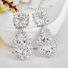 Bridal Earrings Cubic Zirconia Wedding by goddessdesignsgems Cubic Zirconia Earrings, Diamond Earrings, Bridal Necklace, Wedding Party Dresses, Special Occasion Dresses, Fashion Dresses, Copper, Accessories, Jewelry