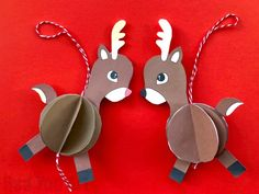 How cute are these easy Reindeer Baubles? Super fun and easy to make. Choose from different colours. and turn them into Paper Ornaments or Pop Up Christmas Cards! Reindeer Ornaments, Paper Ornaments, Diy Christmas Ornaments, How To Make Ornaments, Reindeer Christmas, 3d Paper, Paper Crafts, Pop Up Christmas Cards, 3d Cards