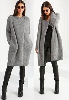 Knitting Jacket Women Pattern Sweater Coats 31 New Ideas Winter Outfits, Casual Outfits, Fashion Outfits, Style Fashion, Skirt Outfits, Sweater Coats, Knit Cardigan, Grey Cardigan, Sweater Jacket