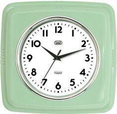 """Trevi carré rétro horloge murale """"Original Sixty"""" mouvement silencieux Quartz - Vert Jade: Amazon.fr: Cuisine & Maison"""