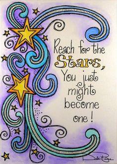 Reaching for the stars, star doodle, doodle art, inspiration quotes, Kunstjournal Inspiration, Art Journal Inspiration, Motivation Inspiration, Art Journal Pages, Art Journals, Banners, Star Quotes, Reaching For The Stars, Smash Book
