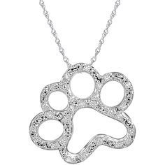 "ASPCA Tender Voices"" 1/10 CT. T.W. Diamond Paw Print Pendant Necklace (195 CAD) ❤ liked on Polyvore featuring jewelry, necklaces, white, medallion necklace, diamond necklace pendant, round diamond necklace, collar necklace and cross necklace"