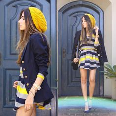 striped dress - navy blue and yellow