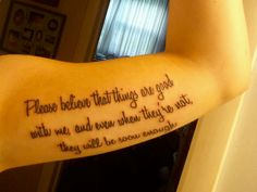 """This is the exact quote that I want from the book """"Perks of being a Wallflower"""" by Stephen Chbosky. I want to get it on my ribs though."""