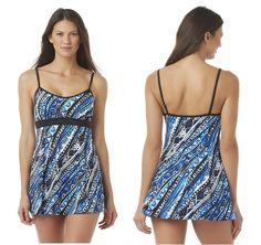 d276b93a5f1 A SHORE FIT Womens Swim Dress Tribal Print nylon spandex sizes 8 10 NEW