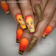 Cute Nail Desings 2019 Summer - Ombre or gradient nail design is a significant means to create the the majority of your favourite colours. These nail designs might be a small time-co. Disney Acrylic Nails, Orange Acrylic Nails, Almond Acrylic Nails, Fall Acrylic Nails, Acrylic Nail Designs, Lion King Nails, Lion Nails, Camouflage Nails, Really Cute Nails