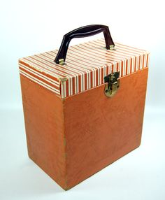 Vinyl 45s Striped Record Storage Box Carry Case by joevintage, $32.00