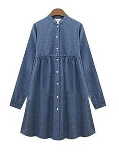 ce33b606226 Womens Loose Single Breasted Long Sleeve Shirt Blouse Denim Jean Skater  Dress ** Check this