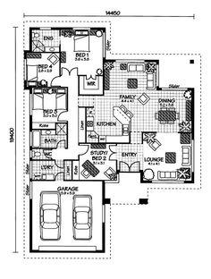 The Hinchinbrook « Australian House Plans Contemporary House Plans, Modern House Plans, Small House Plans, House Floor Plans, Australian House Plans, Australian Homes, House Plans One Story, One Story Homes, Craftsman Floor Plans