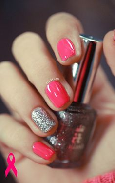 I am totally doing this! Pink October nails.... LOVE!