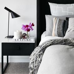 Black bedside table with marble topping to match current black bed