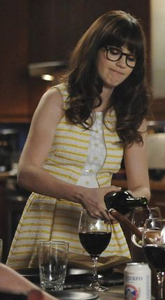 Zooey Deschanel's Yellow dress with stripes and flowers on New Girl.  Outfit Details: http://wwzdw.com/z/4562/ #WWZDW