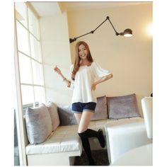 Beige Korean Fashon Summer New Shirt Sleeve Women Chiffon Blouse... via Polyvore