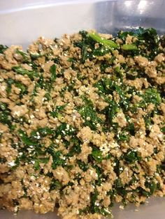 Turkey & kale - healthy homemade dog food - grain free - 2 lb ground turkey cooked, 1 bunch kale chopped and cooked, 1/4 cup coconut oil, 1/4 cup olive oil, 1/2 cup ground egg shells (I got a little lazy this time it's not very finely ground :)), 1 tbsp turmeric - I add a tsp raw honey to my picky chihuahua's food, she loves it and its good for her!