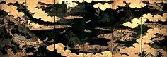和歌浦天橋立図屏風 江戸時代中期 紙本著色 各隻縦93.8cm/横272.0cm 6曲1双 和歌浦と天橋立を一双に描いた名所図屏風である。和歌浦隻は、画面左に紀三井寺、それに向かい合わせて右に東照宮を描く。中央下、砂州の岩山に抱かれた社殿は玉津島神社であろう。右端下に和歌山城、右端上には天満宮を添えている。海と陸との参詣人の描写も細かく興味深い。一方、天橋立隻では、雪舟筆「天橋立図」(国宝)とほぼ同様の視点で、中央から右寄りに天橋立を配置し、その左に智恩寺、画面の右端に籠神社・成相寺を描く。