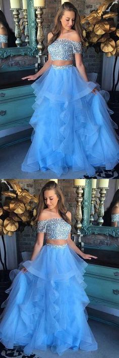 long prom dresses - Charming Two Piece Party Dress, Blue Long Prom Dress, Off Shoulder Prom Dress 51616 Sweet 16 Dresses, Sweet Dress, Pretty Dresses, Beautiful Dresses, Prom Dresses Two Piece, Dance Dresses, Formal Dresses, Short Dresses, One Piece Dress