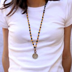 Fancy jasper and Yellow jade 108 bead mala necklace, with a Tibetan calendar pendant. #cool #new #necklace #lovepray