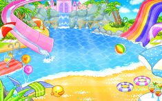 A Animated GIFs image from glitter-graphics.com - Kawaii swimming pool!