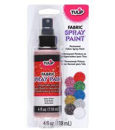 Tulip Fabric Spray Paint 4 Ounces/Pkg - Glitter Ruby Red