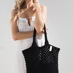 Our crochet designed, macrame tote is the perfect beach bag. Made from cotton cord, our Macrame Tote is durable, soft and comfortable to use all day. The Beach People, People Shopping, Macrame Design, Jute Bags, Linen Bag, Travel Wardrobe, Kids Branding, Black Tote Bag