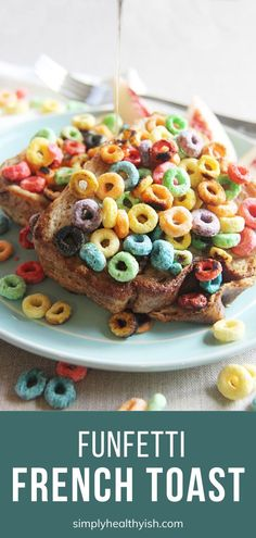 A fun and cheerful breakfast menu idea your mom deserves! Funfetti French Toast are bread slices soaked in a milk egg mixture with some cereals then fried on a skillet. Serve hot with maple syrup on Mother's Day morning! Brunch Menu, Breakfast Menu, Breakfast For Kids, Breakfast Recipes, Breakfast Ideas, Egg Recipes, Brunch Recipes, Easy Homemade Recipes, Simple Recipes
