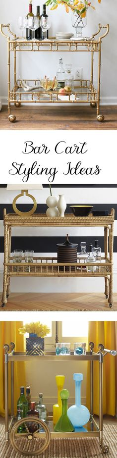 Great examples of how to style bar carts to make them both functional and lovely; perfect for casual, formal and holiday entertaining.