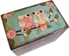 Keepsake Trinket  Box  MADE To ORDER  Decoupaged Sheep - Owl Box and Other Fun Designs  LARGE and Crafted by Hand. $32.00, via Etsy.