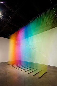 Thread installation by Gabriel Dawe.    Plexus no. 9 + site specific installation at Peel Gallery + Gütermann thread, painted wood and hooks, 2011. Photo by Slyworks Photography.