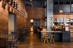 Starbucks Coffee, Portland bar and restaurant Bar Design, Coffee Shop Design, Wood Design, Store Design, Design Ideas, Design Inspiration, Signage Design, Design Concepts, Cafe Interior Design