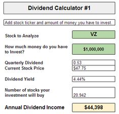 How much money would you need to live off of dividend income?  Find out using our dividend calculators - free download in Google Docs!