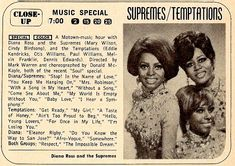 TCB - DIANA ROSS & THE SUPREMES AND THE TEMPTATIONS 1968. ON DVD. TCB was a television special musical revue starring Motown's two most popular groups at the time, Diana Ross & the Supremes and The Temptations.   Featuring a combination of show tunes, specially prepared material, and popular Motown hits, this special was taped before a live studio audience in September 1968 and originally broadcast December 9, 1968 on NBC, sponsored by the Timex watch corporation.