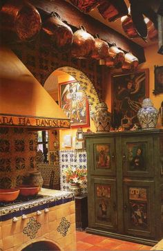 Kitchen , Stunning Mexican Kitchens : Colonial Mexican Kitchens With Hanging Pot Rack And Green Vintage Pantry And Pottery Mexican Hacienda, Hacienda Style, Hacienda Kitchen, Spanish Kitchen, Mediterranean Kitchen, Southwest Kitchen, Southwest Style, Rustic Country Kitchens, Rustic Kitchen