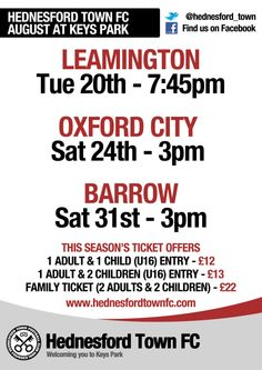 Hednesford Town's Football Fixtures