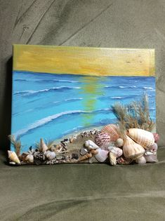 Items similar to Sunrise at the beach, Acrylic painting, wrapped canvas on Etsy - Malerei Seashell Painting, Seashell Art, 3d Painting, Seashell Crafts, Acrylic Painting Canvas, Canvas Art, Beach Canvas, Sea Crafts, Tile Crafts
