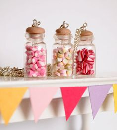 Glass Candy Jar necklace Polymer clay sweeties by timeforteabeads, $12.00