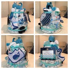 Whale themed diaper cake for a baby boy shower ... LOADED with goodies. Great gift to give or receive!