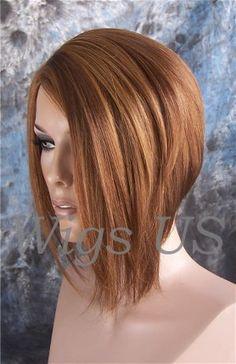 Wigs Auburn Strawberry Gold Asymmetrical Bob Skin Part Long Face Frame Wigs   eBay