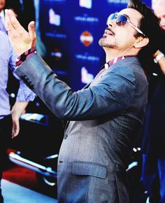 "Robert Downey Jr. appreciating the fans at the ""Captain America: The First Avenger"" premiere."