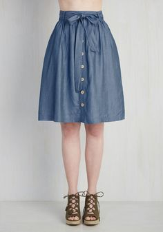 How the Staples Have Turned Skirt. This chambray skirt proves that a piece doesnt have to be ordinary to make it a wardrobe essential! #blue #modcloth
