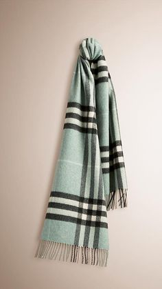 Dusty mint The Classic Cashmere Scarf in Check -  1
