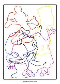 Cartoonfiguren, Nachfahren, Weihnachten, Legasthenie, Legasthenietraining, AFS-Methode, Koujou, Stephany Koujou, Wahrnehmung, Aufmerksamkeit, Download, nachfahrmaterial Learning Through Play, Perception, Preschool Activities, Stencils, Disney Characters, Fictional Characters, Preschool, Preschool Graduation, Toddler Activities