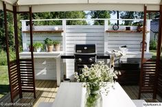 My Garden - Sisustuskuva jäseneltä idahhh - StyleRoom. Home, Mobile Home Porch, Backyard Makeover, Cottage Inspiration, New Homes, Outdoor Dining, Backyard Plan, Summer Backyard, Outdoor Grill Station