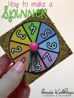 How to Make a DIY Spinner {great for games during math class! Math Board Games, Math Boards, Classroom Games, Math Games, Classroom Ideas, Social Games, Games For Kids, Diy For Kids, Crafts For Kids