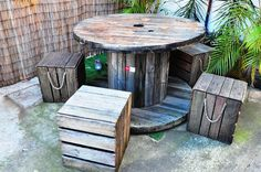 Rustic Outdoor Table Setting comprising Cable Reel Table 1200 mm dia x 800