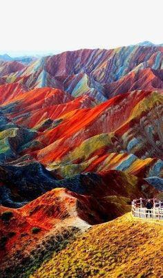 Red Stones, Zhangye Danxia Landform Geological Park, China.
