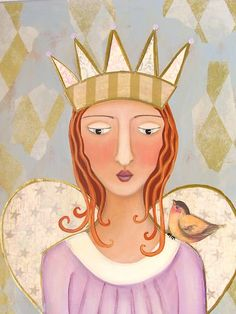 """""""Someone had to tell her..."""" She's not a princess. Original Folk Art painting. Amy Jo Hill"""