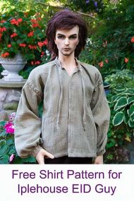 Free shirt pattern for Iplehouse EID Guy. That doll is scary beyond all reason but the pattern will come in handy!