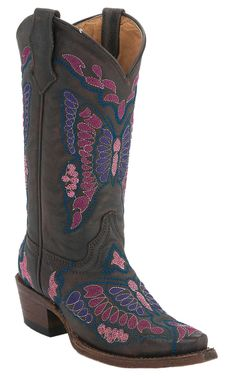 Corral Boot Company® Kids Dark Brown with Pink, Purple & Blue Butterfly Snip Toe Western Boots