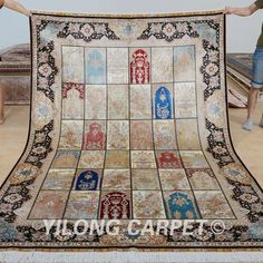 Yilong 6'x9' Persian Silk Rugs Garden Scene Hand Knotted Carpets Hand Made 0727